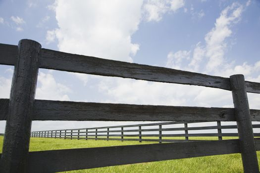 Fence dividing fields in countryside
