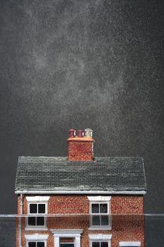Ceramic house in water dust in air