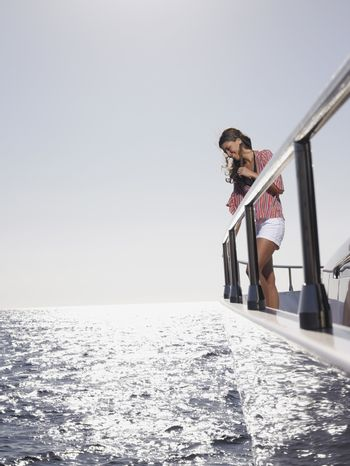 Portrait of Woman on Deck of Boat