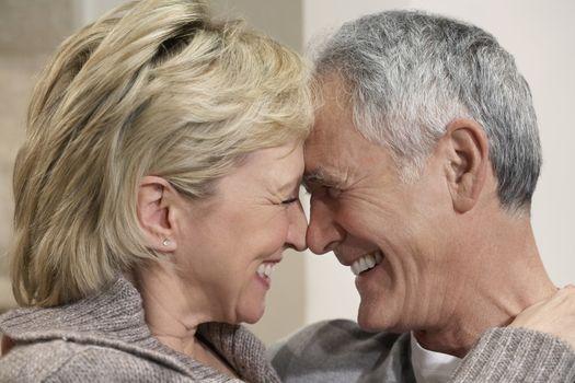 Portrait of senior couple showing affection
