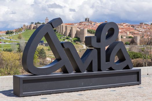 Avila, Spain - Avila view from Los cuatro postes (The four post). Castile and Leon, Spain
