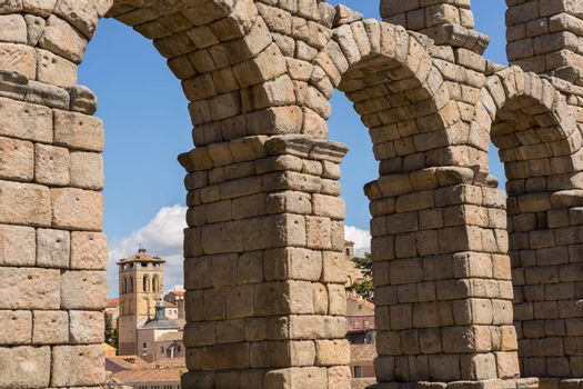 Detail of the Roman Aqueduct, the famous landmark of Segovia, Spain