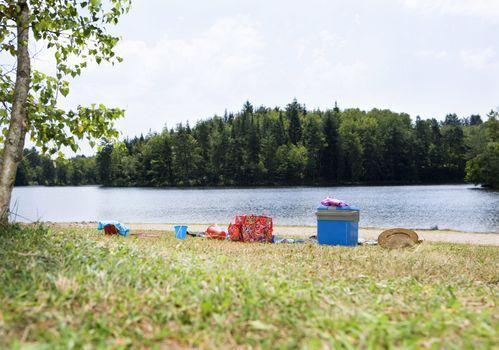 Picnic gear on lakeshore