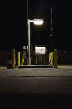 Fuel pump illuminated at night