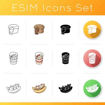World famous desserts icons set. Fondant au Chocolat. French sweets. Parfait. Banana split. Traditional sweet food. Linear, black and RGB color styles. Isolated vector illustrations