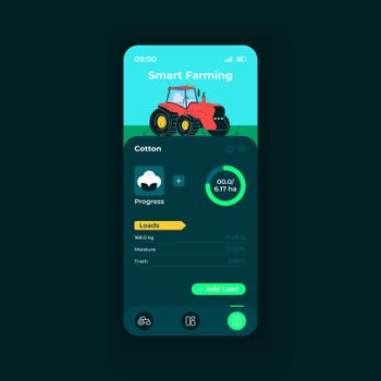 Smart farming app smartphone interface vector template. Mobile app page night mode design layout. Cotton loads details on screen. Flat UI for application. Crops productivity phone display