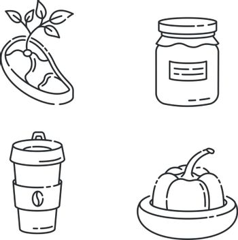 Zero waste food linear icons set