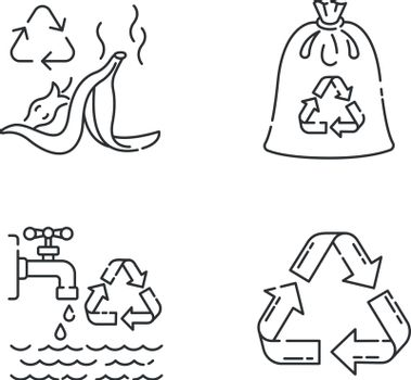 Zero waste rules linear icons set