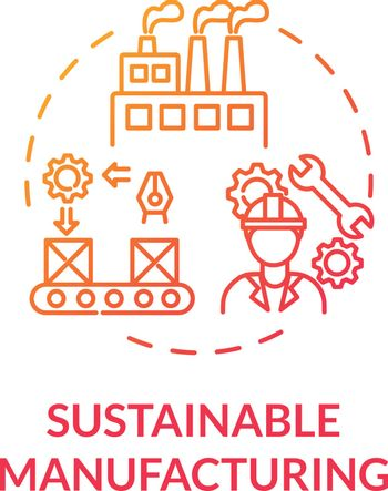 Sustainable manufacturing red gradient concept icon