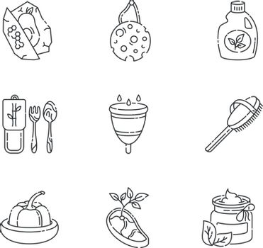Zero waste products linear icons set