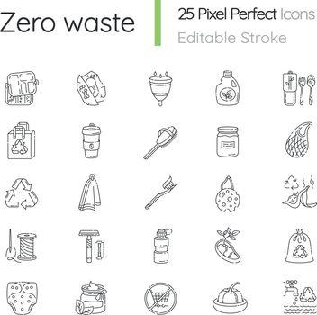 Zero waste linear icons set