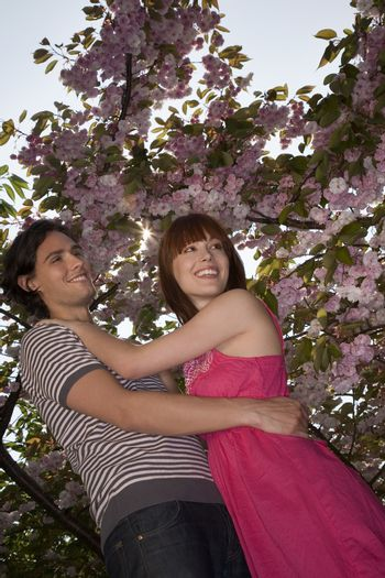 Young Couple Under a Blossoming Tree