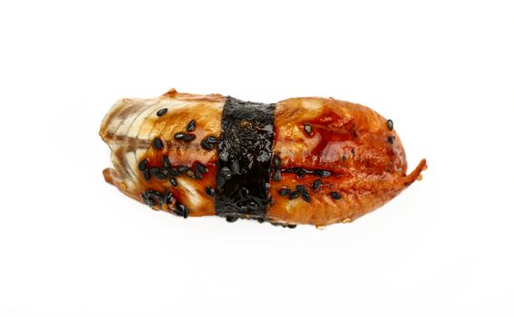 Close up one unagi nigiri sushi with eel isolated on white background, elevated, high angle view, directly above