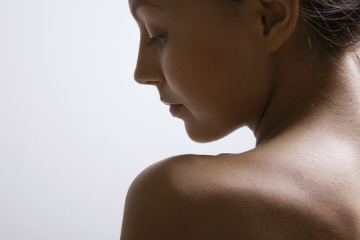 Young woman's neck and face