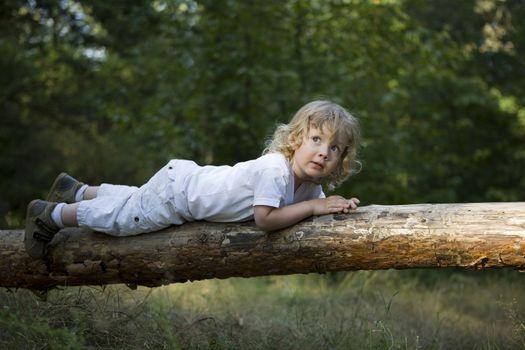 Little Girl Lying On Tree Trunk