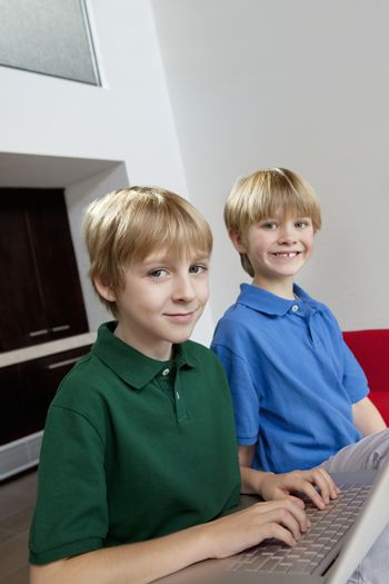 Portrait of blond brothers using laptop