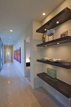 Shelf in hallway of luxury villa