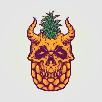 Pineapple Skull Summer Illustrations for your logo and merchandise