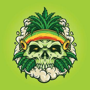 Illustrations marijuana leaf skull with smoke for logo mascot Merchandise