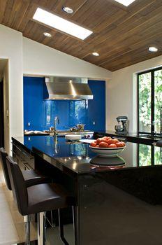 Contemporary kitchen counter of luxury villa