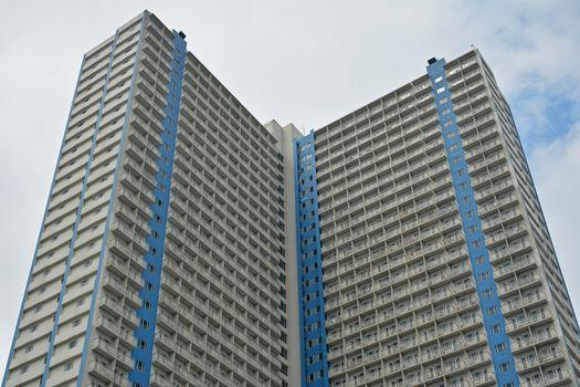 Sun residences condominium facade in Quezon City, Philippines
