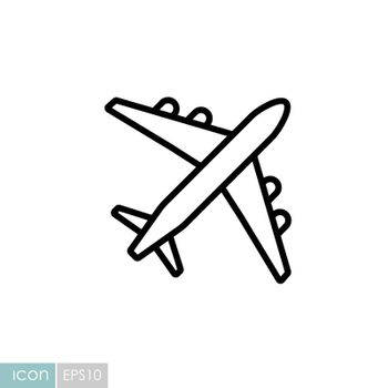 Airplane or plane flat vector icon. Graph symbol for travel and tourism web site and apps design, logo, app, UI