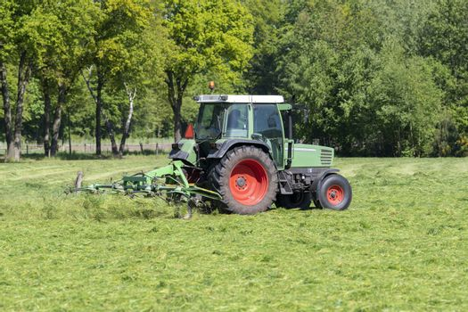 Green tractor mowing tall green grass in early spring in the Netherlands