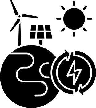 Renewable energy black glyph icon