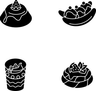 Popular sweets black glyph icons set on white space