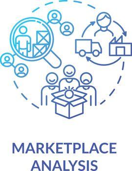 Marketplace analysis blue gradient concept icon
