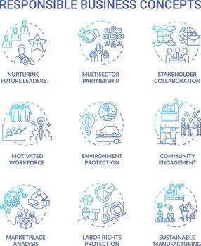 Responsible business blue gradient concept icons set