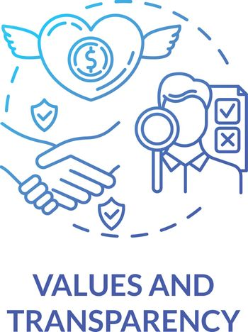 Values and transparency blue gradient concept icon