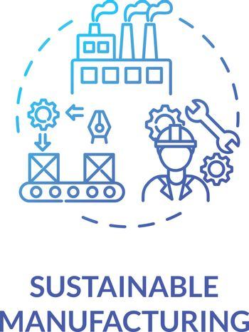 Sustainable manufacturing blue gradient concept icon