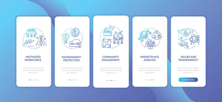 Responsible corporation ethics onboarding mobile app page screen with concepts