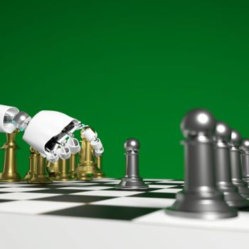 Hand of android pick golden pawn is deciding play chess