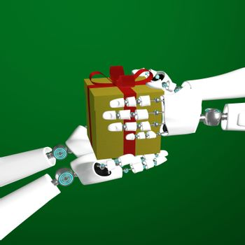 Hands of android give golden gift box and red ribbon