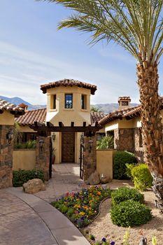 Entrance gate of luxury mansion