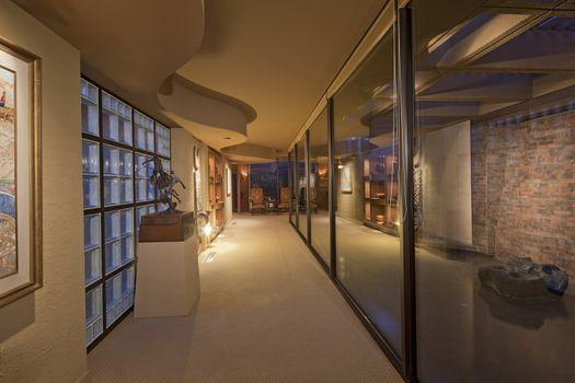 Long hallway interior in luxury villa
