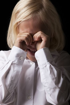 Portrait of little girl crying in studio