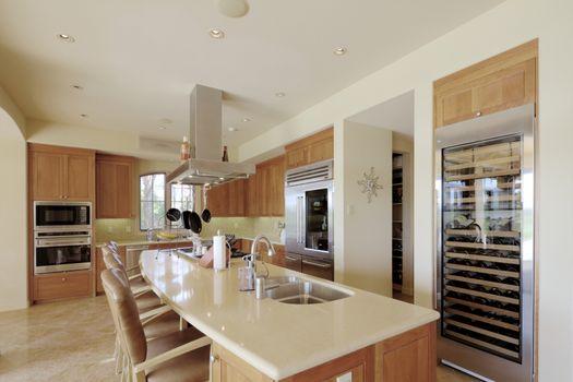 Contemporary kitchen interior of luxury manor house