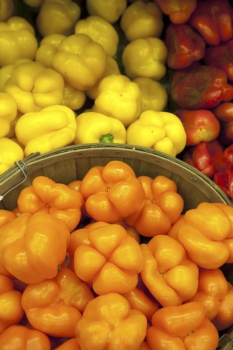 Multicolored capsicum on display in market