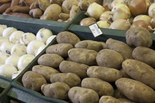 Potatoes on display in produce market