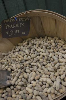 Peanuts in basket on display in market