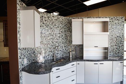 House interior of contemporary kitchen counter