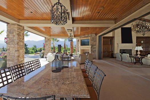 Outdoor covered dining area and patio