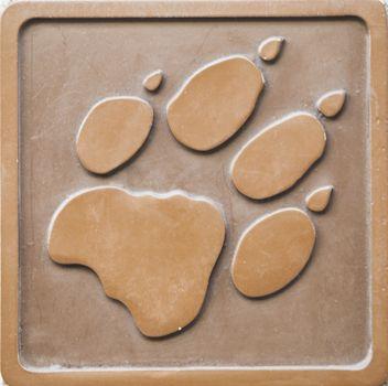Engraving of lion footprint
