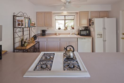 Stove top and kitchen bench in traditional kitchen