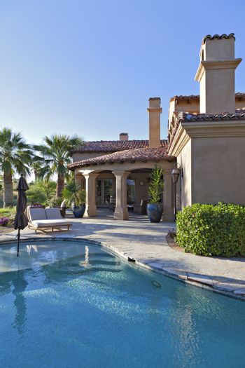 House exterior with pool