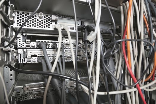 Close-up of configuration of wires