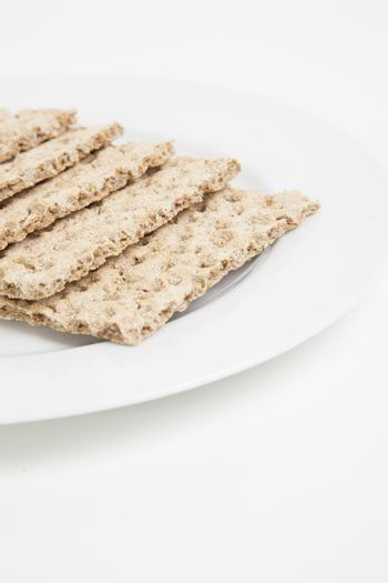 Close-up of crackers in plate